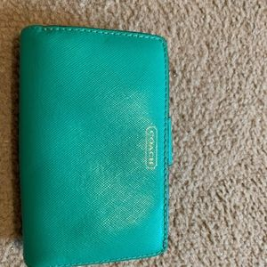 Coach Teal Green wallet authentic EUC
